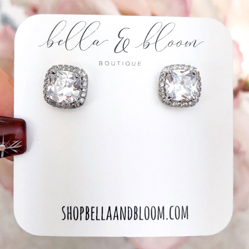 RESTOCK: Square Stud Earrings: Silver - Bella and Bloom Boutique