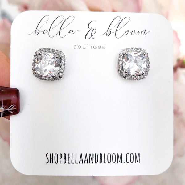 Square Stud Earrings: Silver - Bella and Bloom Boutique