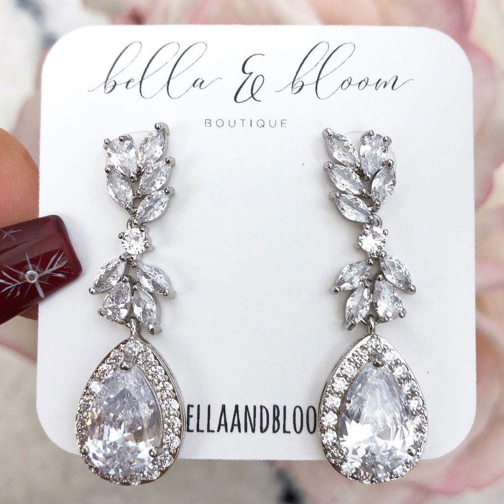 RESTOCK: Black Tie Affair Earrings: Silver - Bella and Bloom Boutique