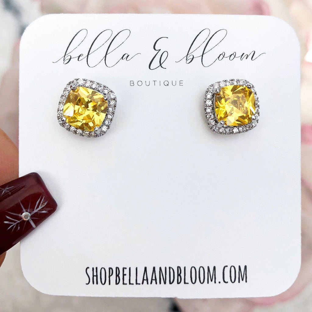 Square Stud Earrings: Yellow - Bella and Bloom Boutique