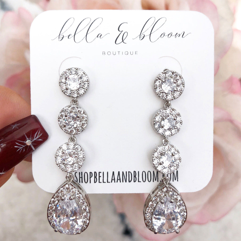 RESTOCK: Here Comes the Bride Earrings: Silver - Bella and Bloom Boutique