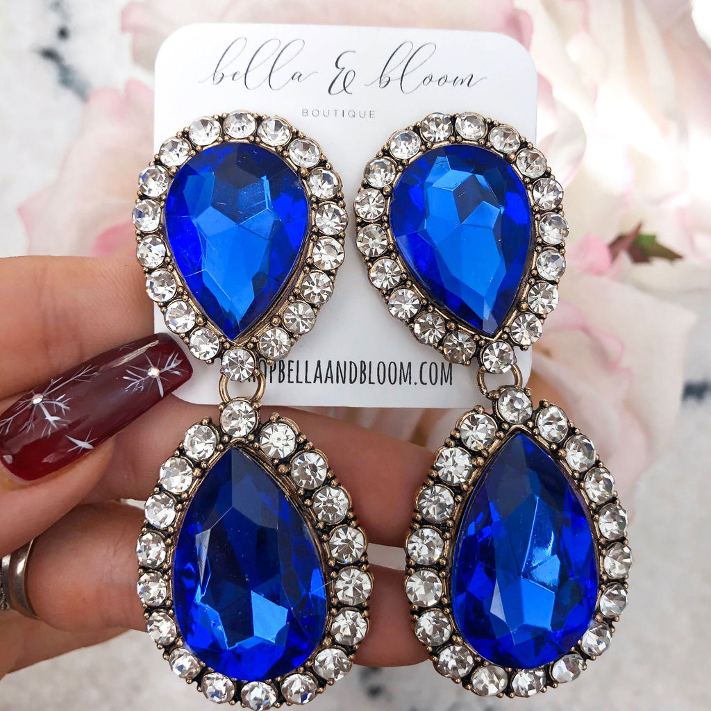 Oversized Glam Earrings: Blue - Bella and Bloom Boutique