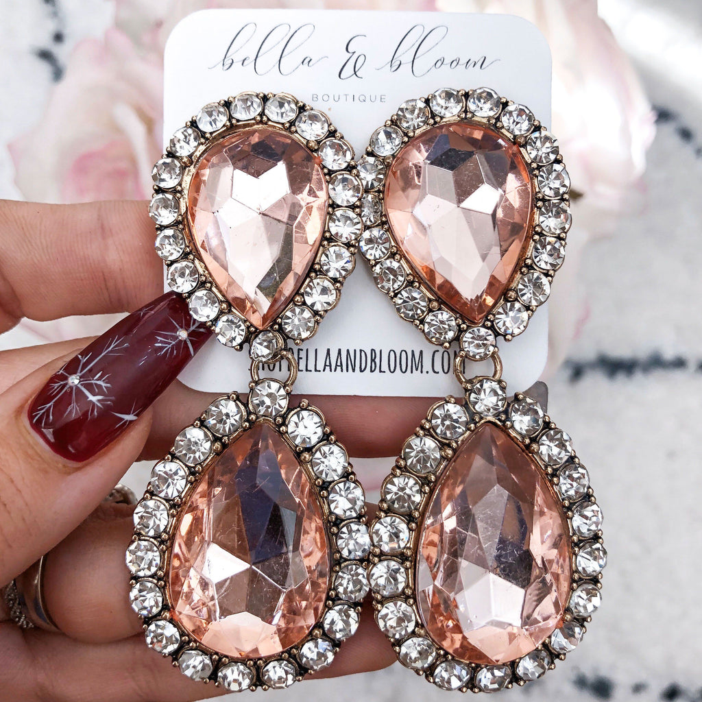 Oversized Glam Earrings: Blush - Bella and Bloom Boutique
