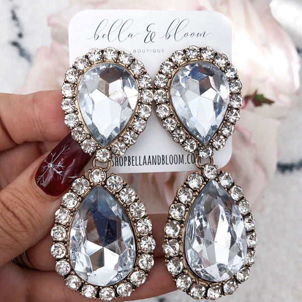 Oversized Glam Earrings: Crystal - Bella and Bloom Boutique