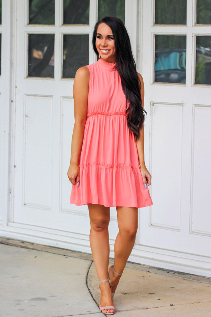 RESTOCK: Stella Dress: Coral - Bella and Bloom Boutique