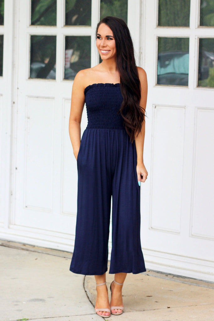 RESTOCK: Cozy Smocked Jumpsuit: Navy - Bella and Bloom Boutique