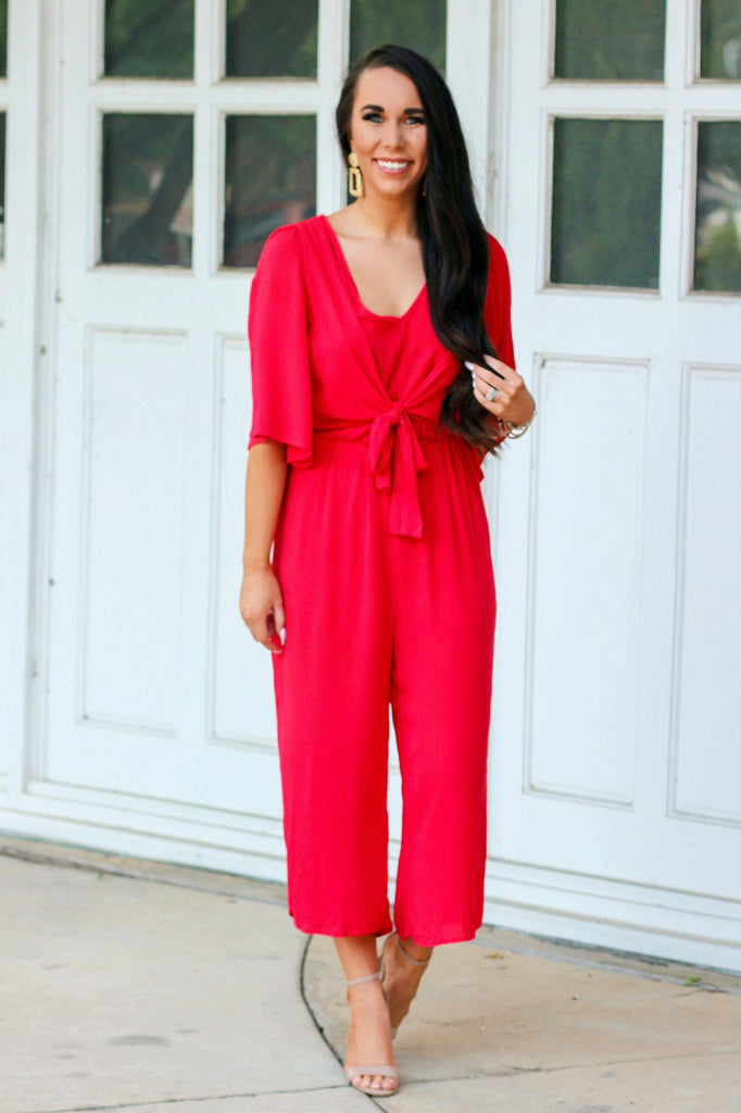 Love You More Jumpsuit: Red - Bella and Bloom Boutique