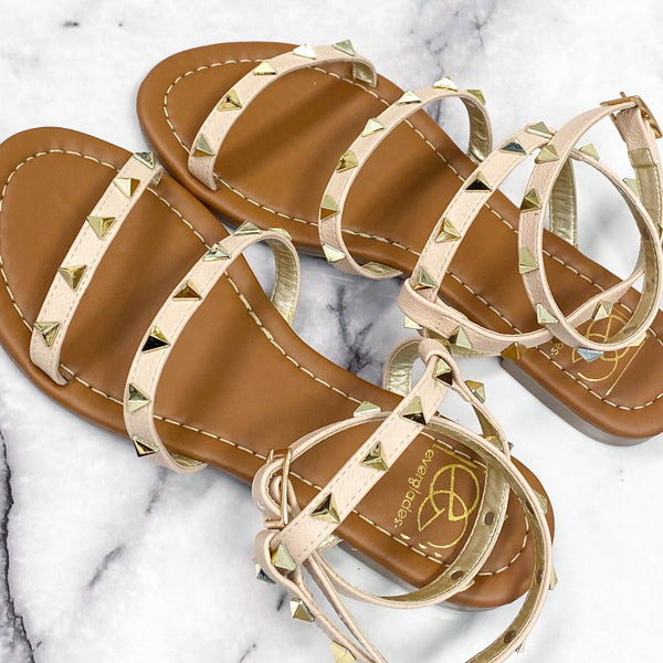 Harper Studded Sandals: Nude - Bella and Bloom Boutique
