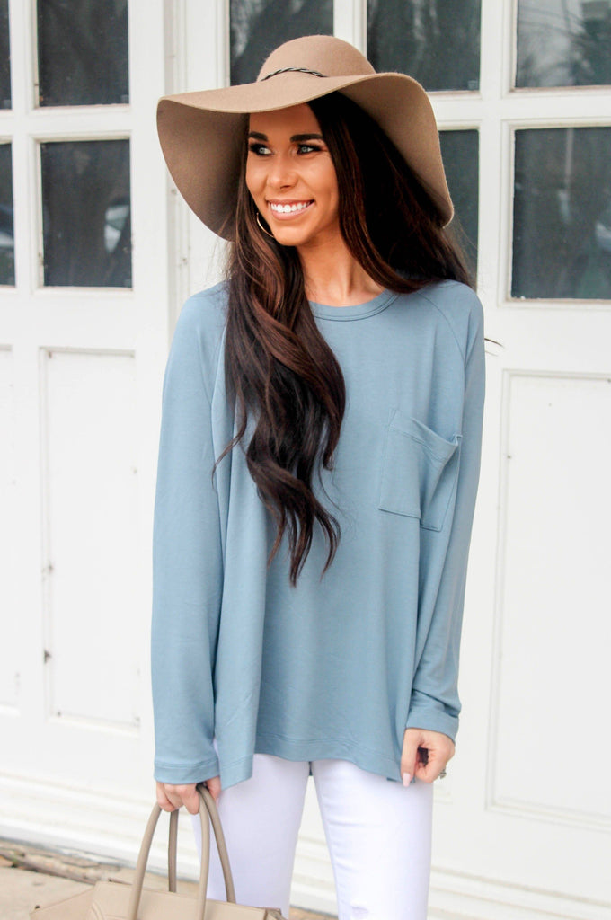 RESTOCK: Better Days Top: Dusty Blue - Bella and Bloom Boutique