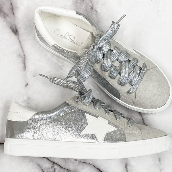 Metallic Star Sneakers: Silver - Bella and Bloom Boutique