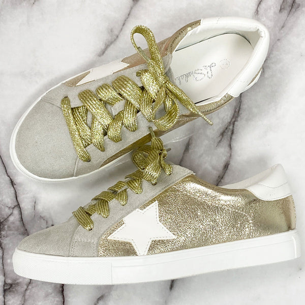 Metallic Star Sneakers: Gold - Bella and Bloom Boutique