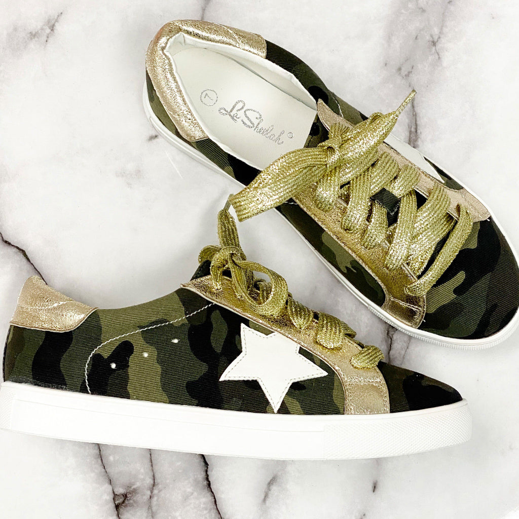 Metallic Star Sneakers: Camo - Bella and Bloom Boutique