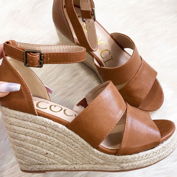 Serena Espadrille Wedges: Cognac - Bella and Bloom Boutique