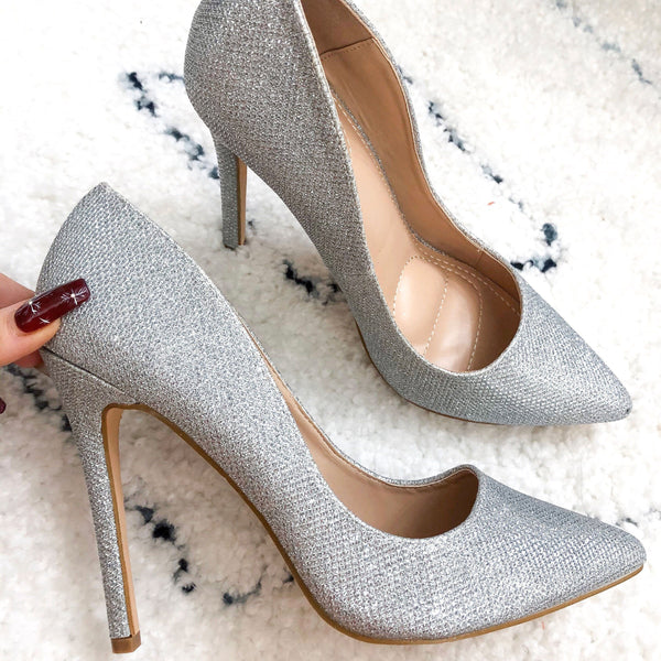 RESTOCK: Shimmer in the Night Heels: Silver - Bella and Bloom Boutique
