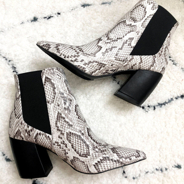Charlie Booties: Gray Python - Bella and Bloom Boutique