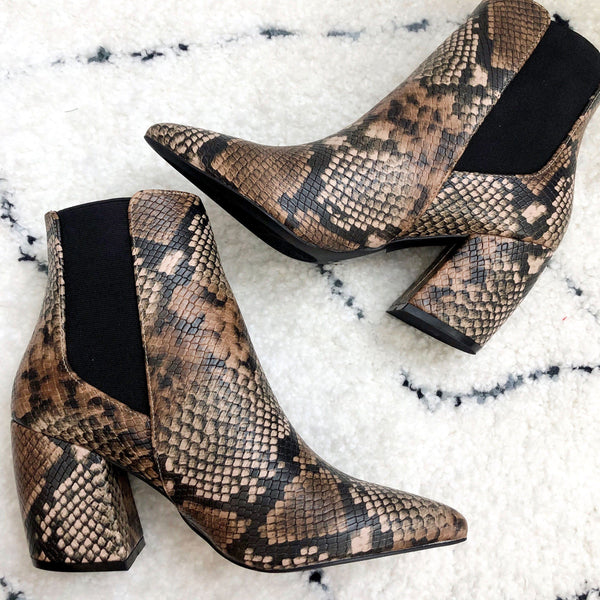 Charlie Booties: Brown Python - Bella and Bloom Boutique