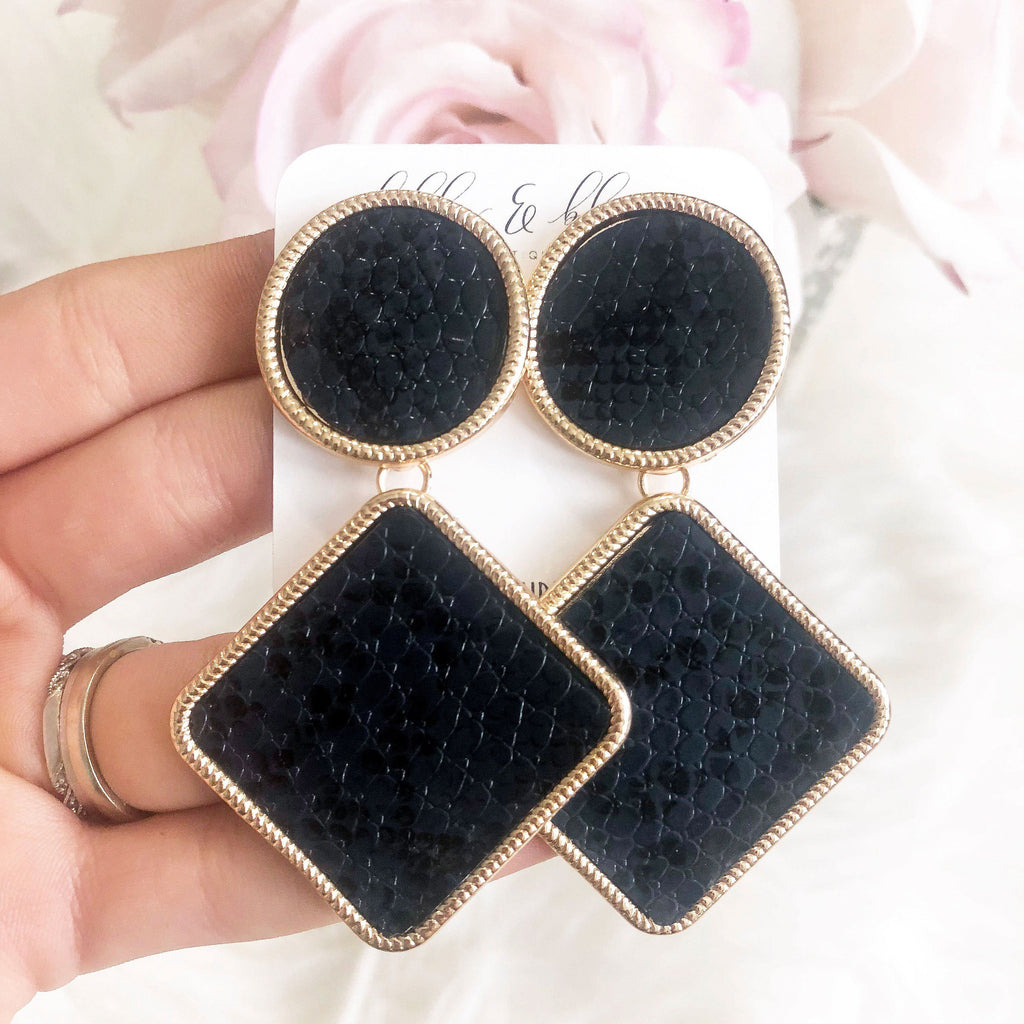 RESTOCK: Animal Instict Earrings: Navy/Black - Bella and Bloom Boutique
