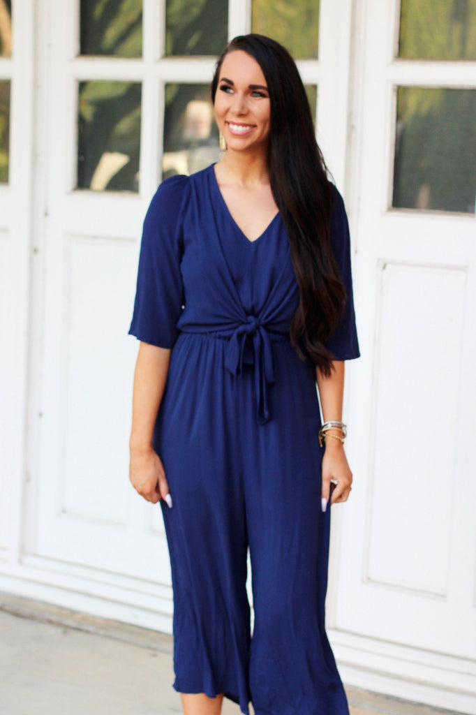 Love You More Jumpsuit: Navy - Bella and Bloom Boutique