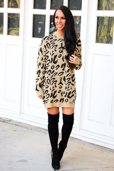 Wild One Sweater Dress: Leopard - Bella and Bloom Boutique