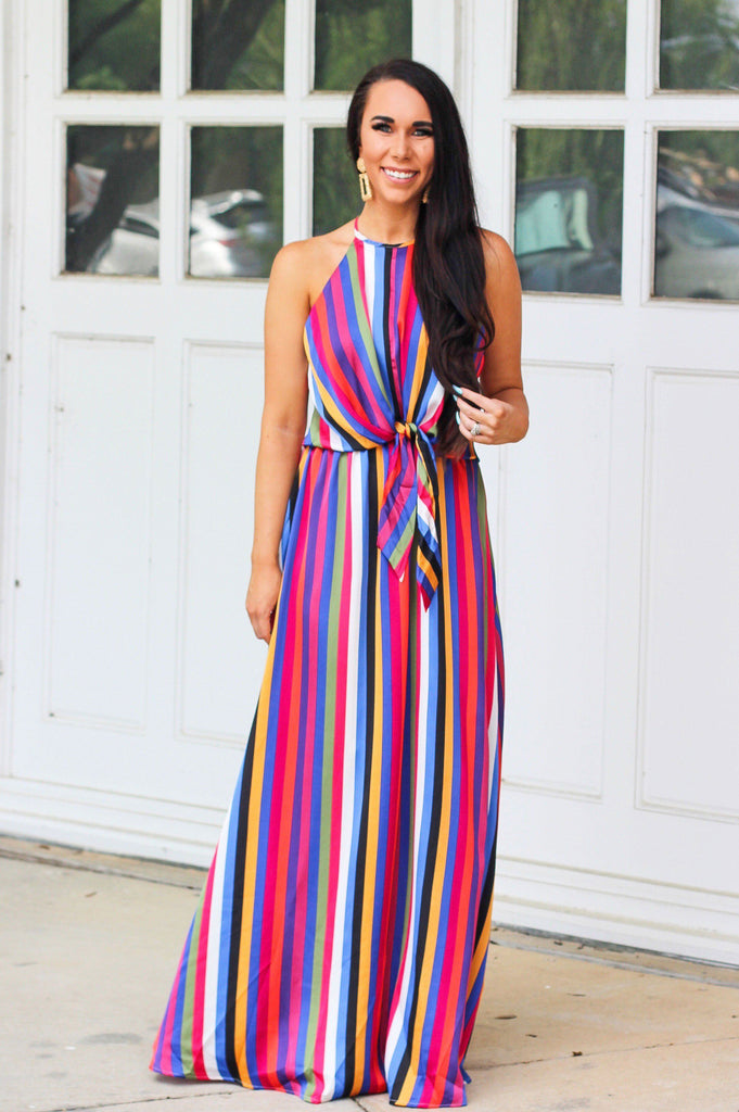 Hey Summer Maxi Dress: Multi - Bella and Bloom Boutique