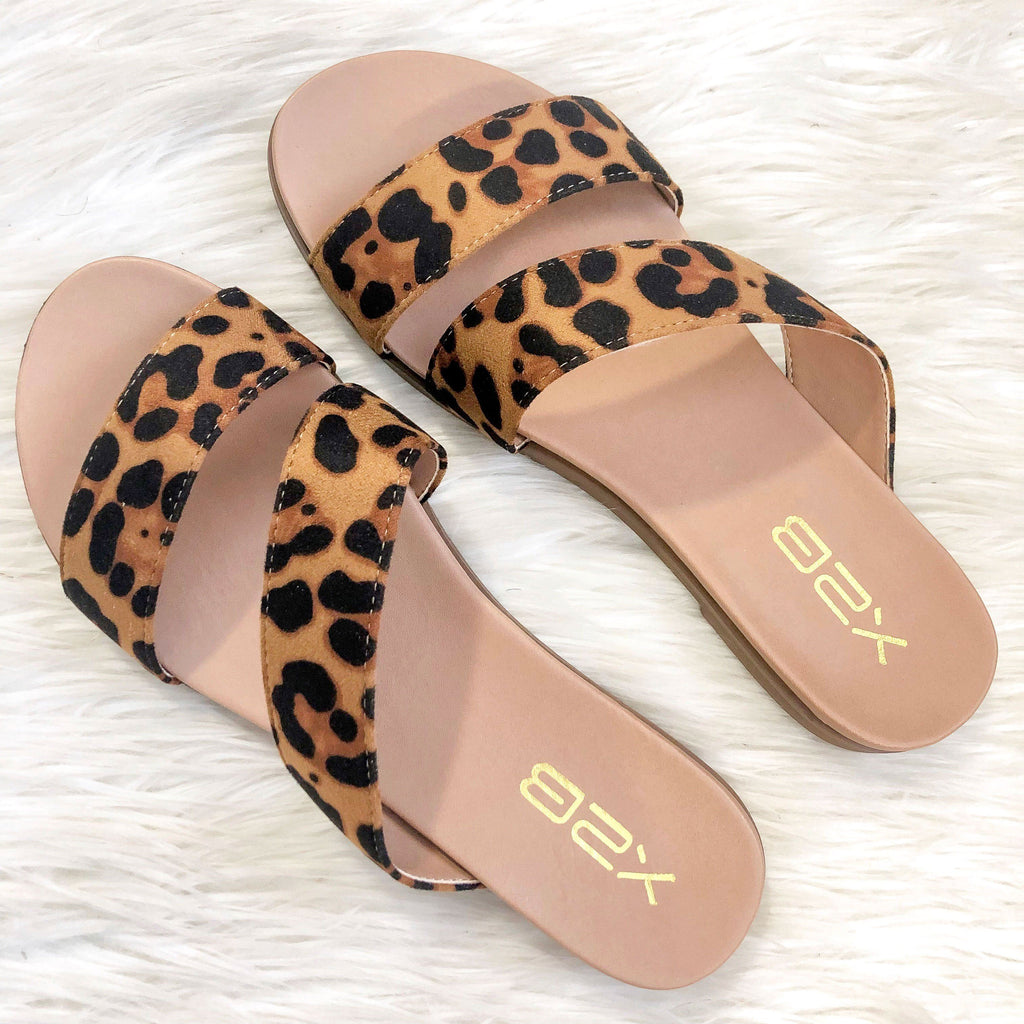Ava Double Strap Sandals: Leopard - Bella and Bloom Boutique