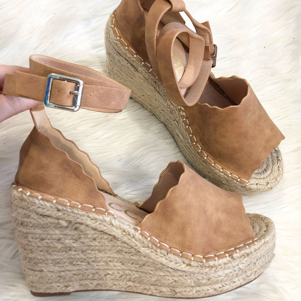 RESTOCK: Macey Scalloped Wedges: Cognac - Bella and Bloom Boutique