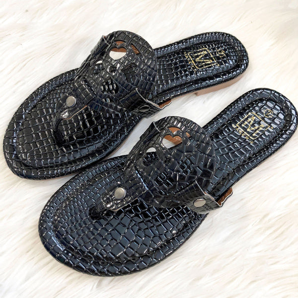 RESTOCK: Liza Medallion Sandals: Black Croc - Bella and Bloom Boutique