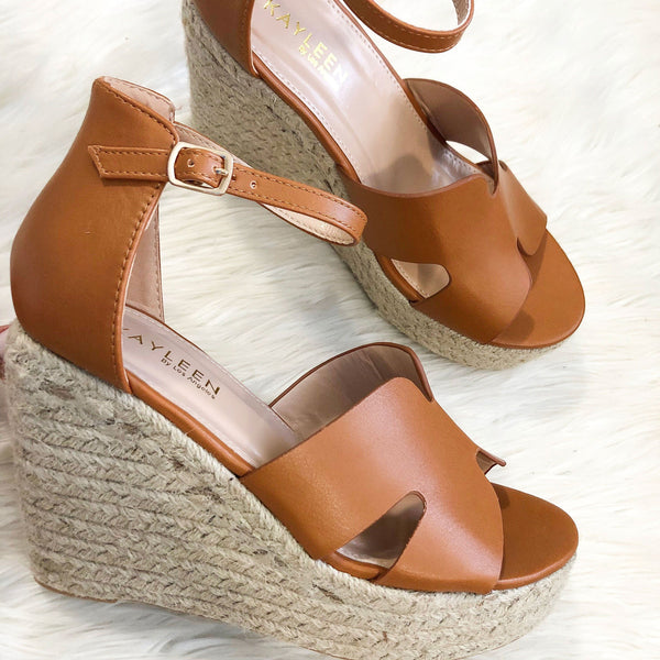 Hera Espadrille Wedges: Cognac - Bella and Bloom Boutique