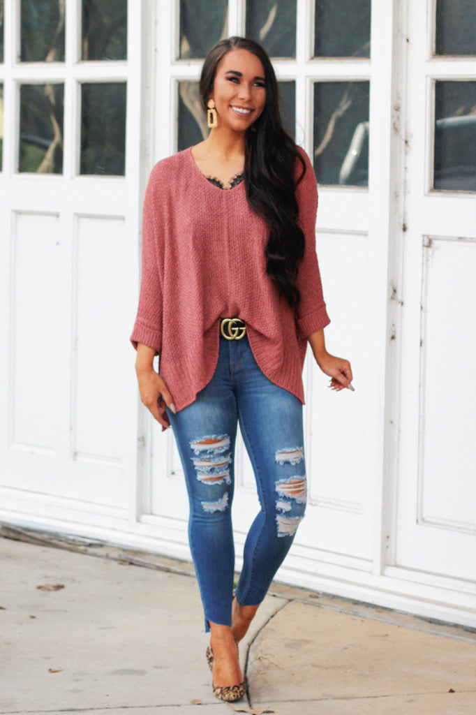 Play It Off Sweater: Rust - Bella and Bloom Boutique