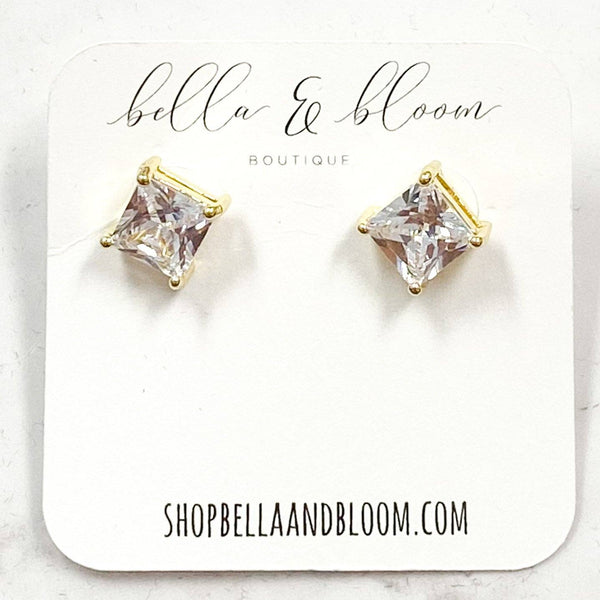 Classic Square Stud Stud Earrings: Gold - Bella and Bloom Boutique
