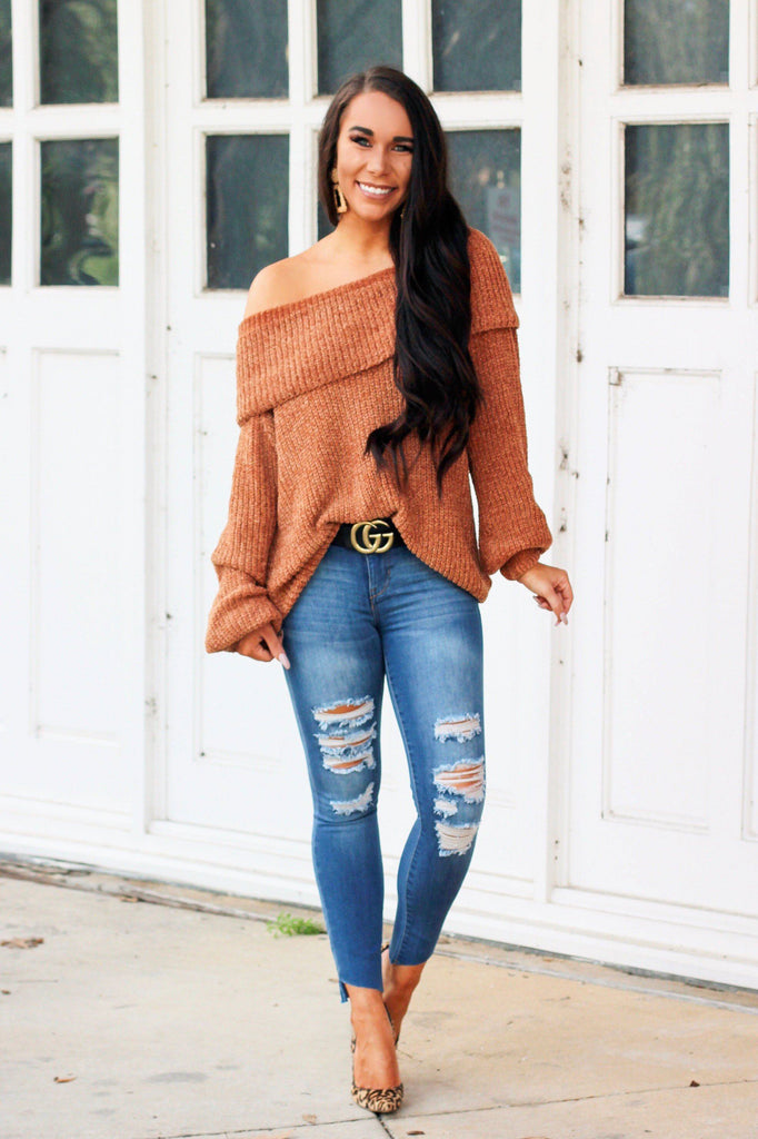 PRE-ORDER: Very Fall Chenille Sweater Tunic: Rust - Bella and Bloom Boutique