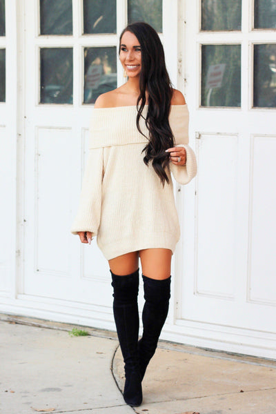 PRE-ORDER: Very Fall Chenille Sweater Tunic: Ivory - Bella and Bloom Boutique