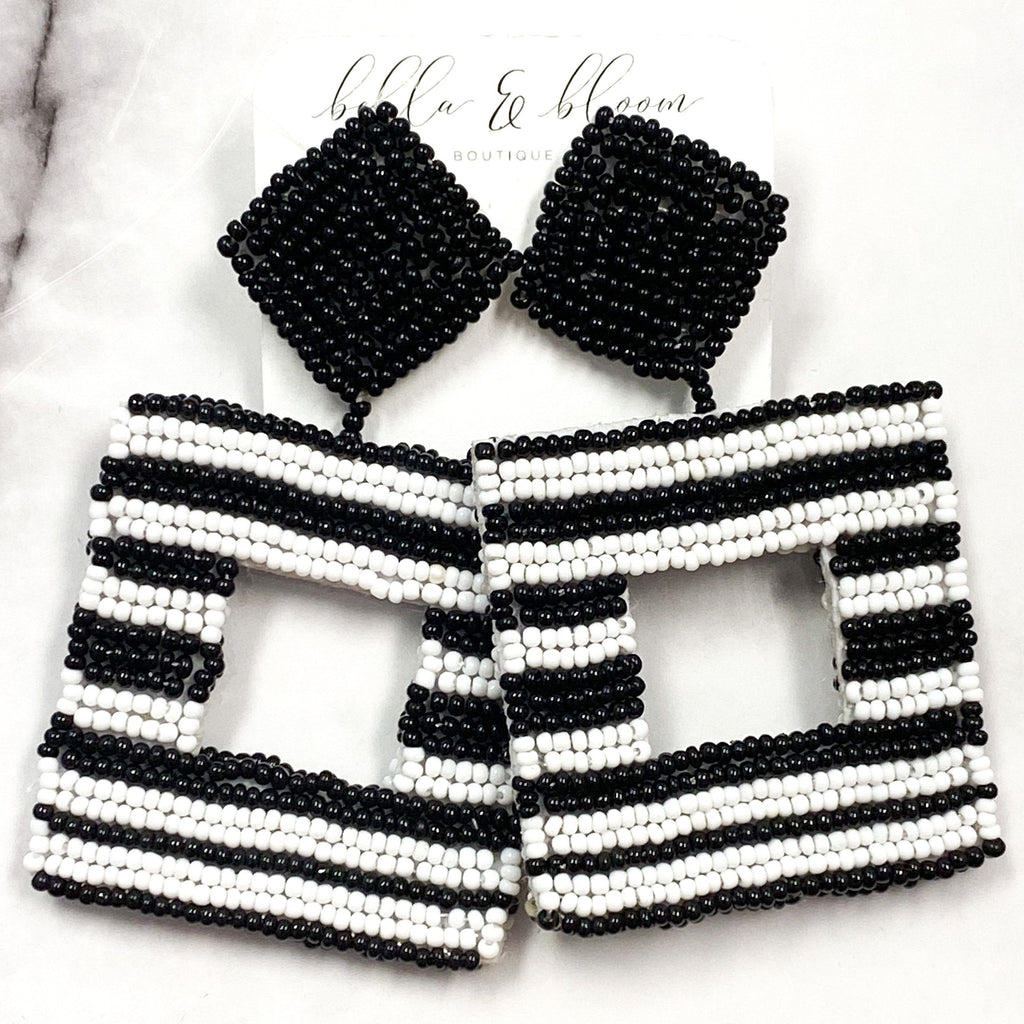 Beaded Stripe Earrings: Black/White - Bella and Bloom Boutique