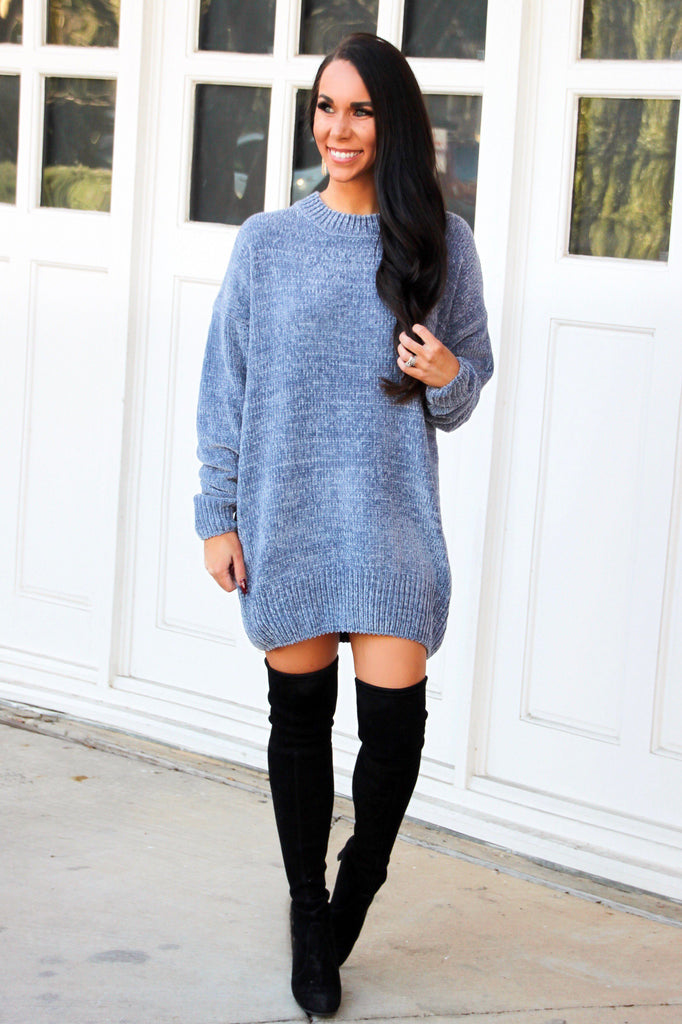 Time After Time Chenille Sweater: Dusty Blue - Bella and Bloom Boutique