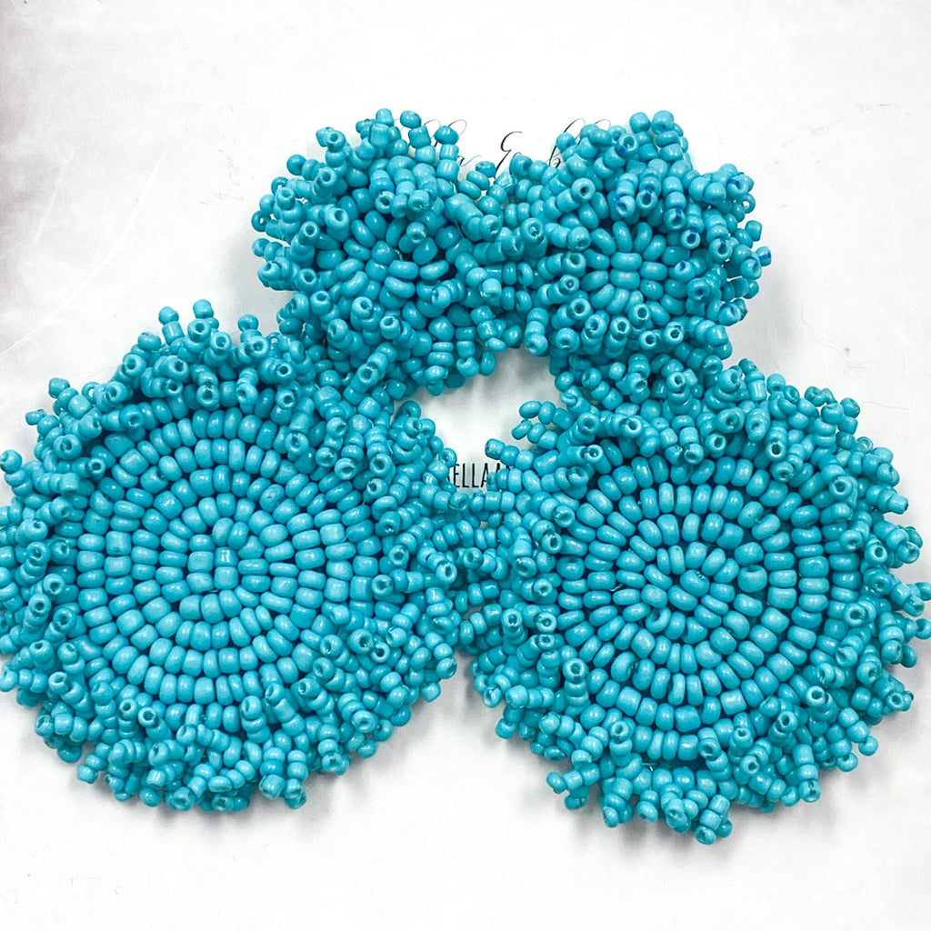 Beaded Disc Earrings: Turquoise - Bella and Bloom Boutique