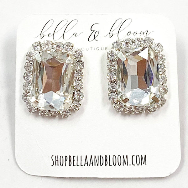 Oversized Emerald Cushion Cut Stud Earrings: Silver - Bella and Bloom Boutique