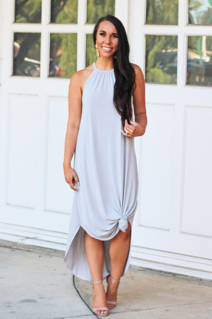 RESTOCK: Classic Circle Hem Midi Dress: Cloud - Bella and Bloom Boutique