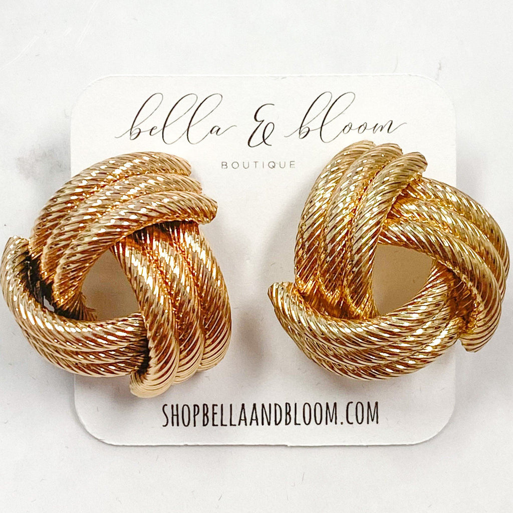 Oversized Knot Earrings: Gold - Bella and Bloom Boutique