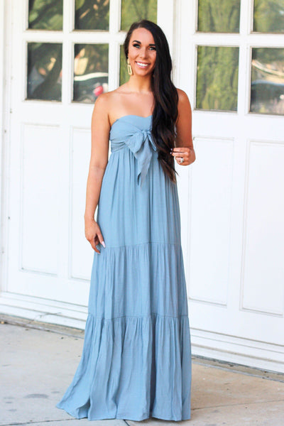 Sweet South Maxi Dress: Dusty Blue