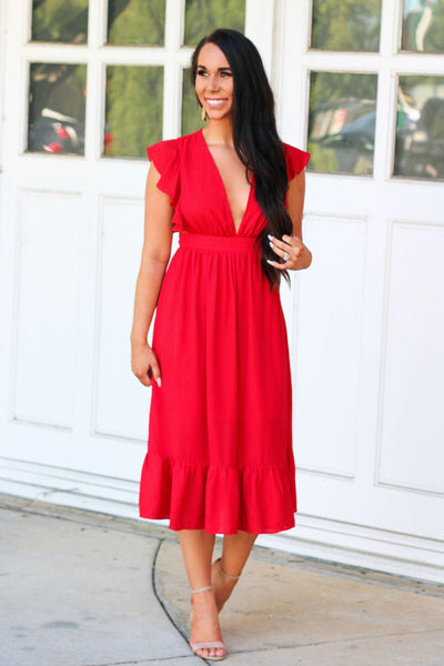 Blown Away Midi Dress: Red