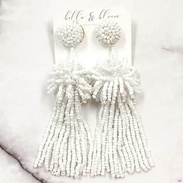 Beaded Burst Tassel Earrings: White - Bella and Bloom Boutique