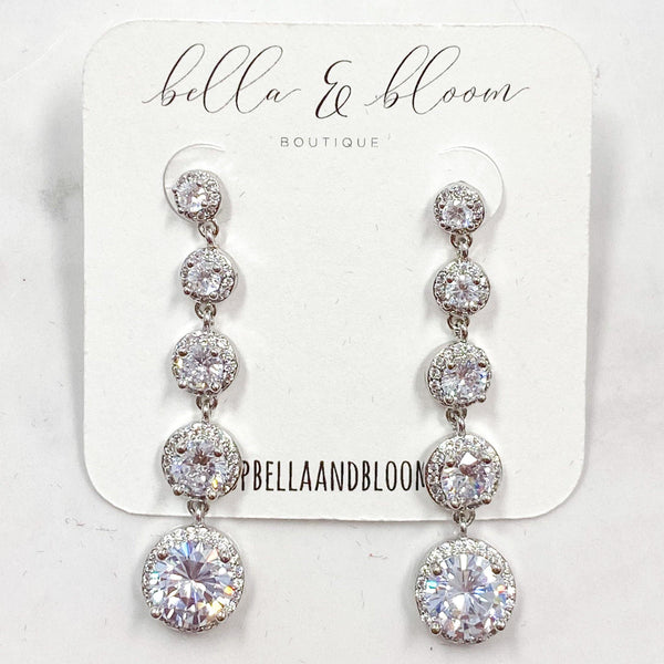 Round Cascading Earrings: Silver - Bella and Bloom Boutique
