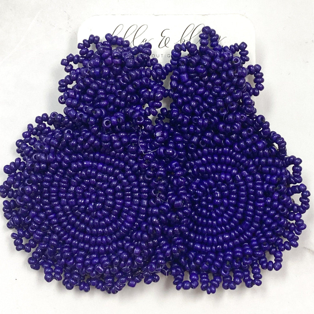 Beaded Disc Earrings: Cobalt - Bella and Bloom Boutique