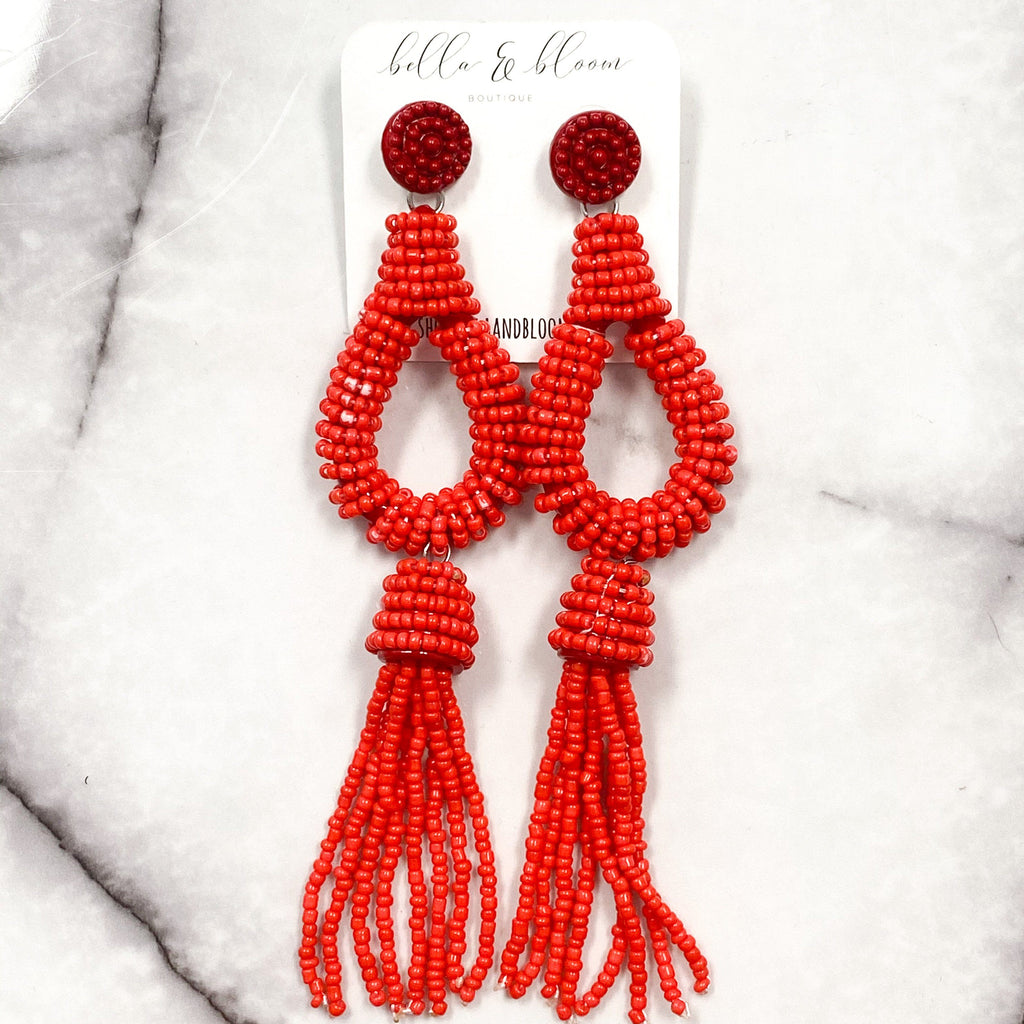 Beaded Teardrop Tassel Earrings: Red - Bella and Bloom Boutique