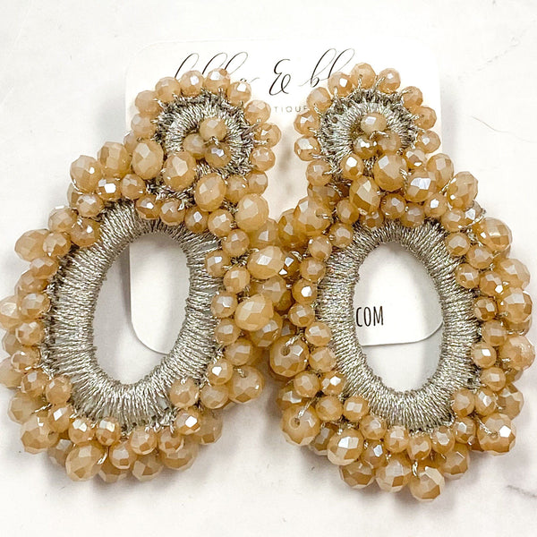 Eternity Beaded Earrings: Taupe - Bella and Bloom Boutique