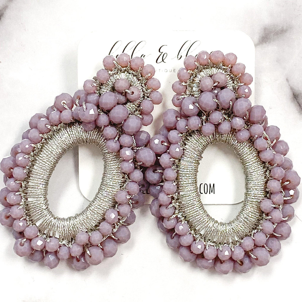 Eternity Beaded Earrings: Plum - Bella and Bloom Boutique