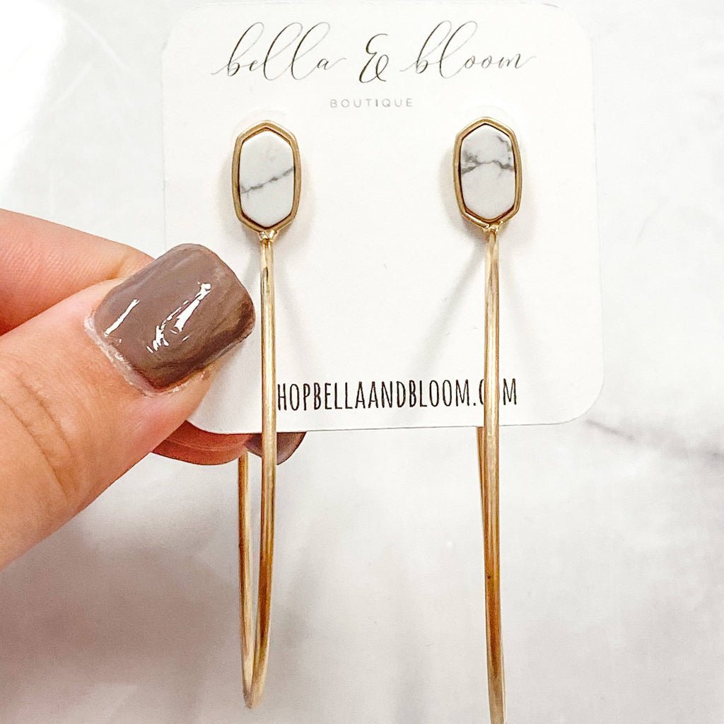 Oval Hoop Earrings: White Howlite - Bella and Bloom Boutique