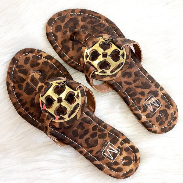 Blakely Medallion Sandals: Leopard