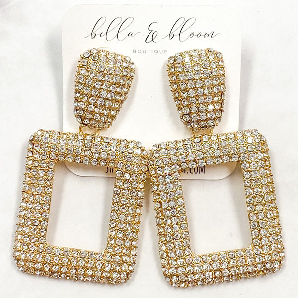 Glam Gal Earrings: Crystal/Gold - Bella and Bloom Boutique