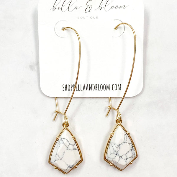 Drop Hoop Earrings: White Howlite - Bella and Bloom Boutique